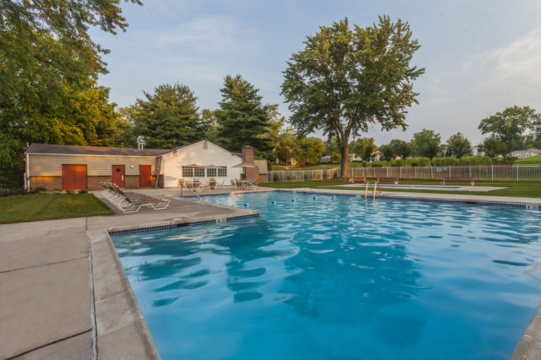 Swimming pool at Mill Grove apartment community in Audubon, PA