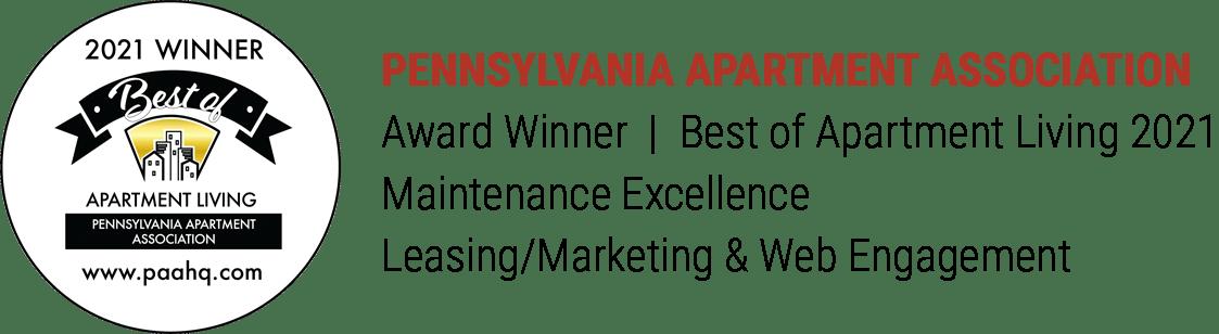 Pennsylvania Apartment Association Best of Apartment Living Award Winner